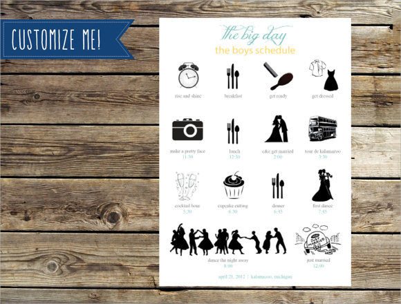 Wedding Itinerary Template - 8+ Download Free Documents in PDF , PSD ...