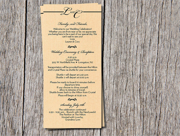 Sample wedding weekend itinerary template 12 documents in pdf wedding itinerary template sample junglespirit Images
