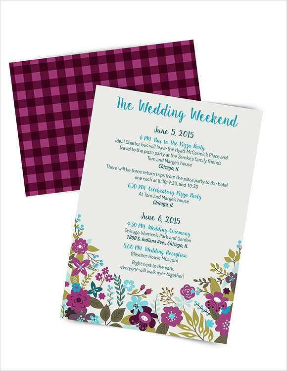 Sample Wedding Weekend Itinerary Template 12 Documents in PDF – Wedding Agenda Template