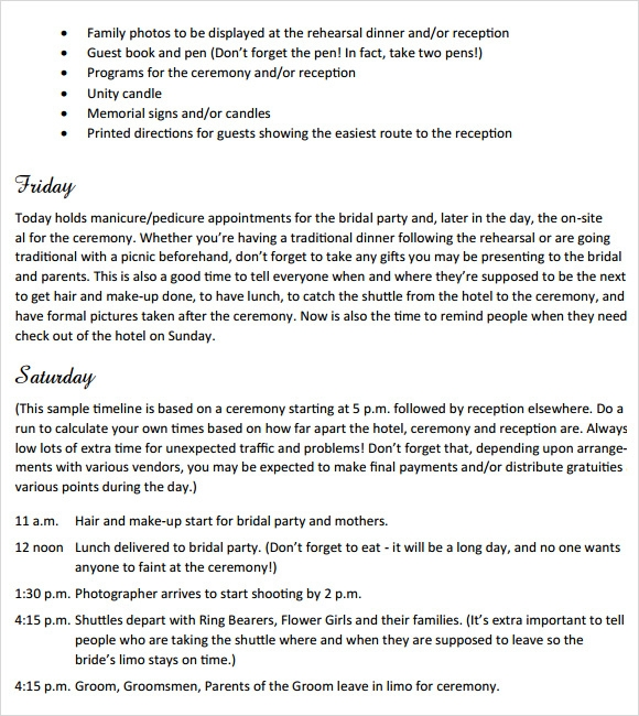 Sample Wedding Weekend Itinerary Template 12 Documents In Pdf