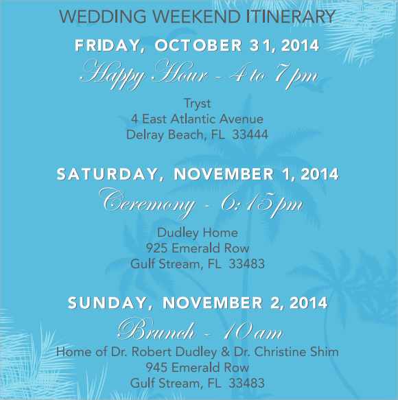 Wedding Itinerary Template 8 Download Documents In Pdf Psd Excel