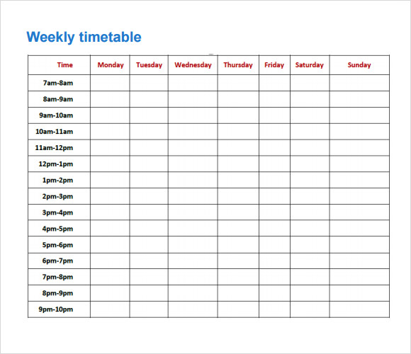 weekly time schedule template excel - Gecce.tackletarts.co