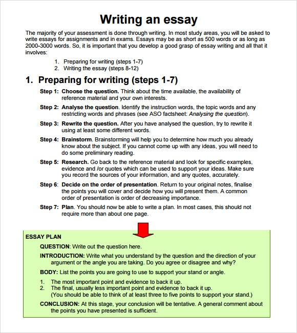 steps of writing essays