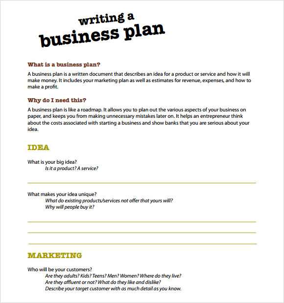Help writing business plan