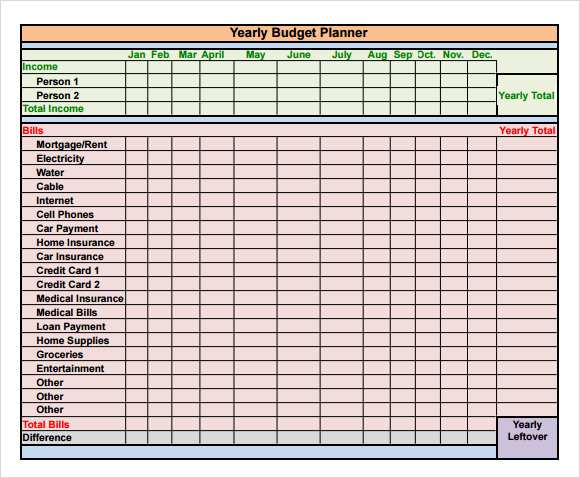 yearly budget template excel free yearly budget template 6 free download for pdf excelfree. Black Bedroom Furniture Sets. Home Design Ideas
