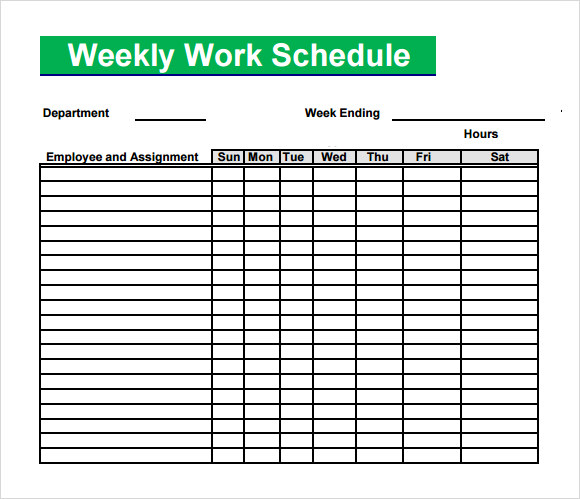 Blank Weekly Work Schedule Template Aintro