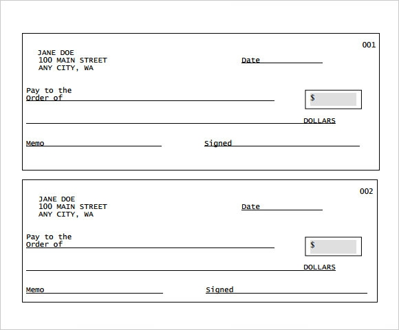 Sample Blank Cheque 5 Documents in PDF PSD – Cheque Receipt Format