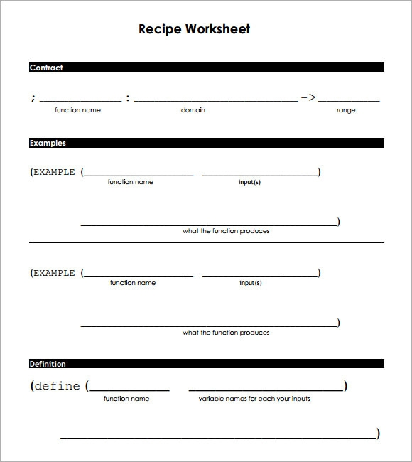 Sample Blank Recipe Template 9 Download Documents in PDF PSD – Recipe Conversion Worksheet