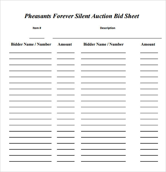 auction bid cards template - search results for silent auction templates free