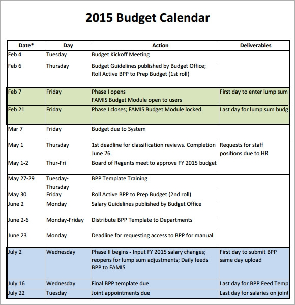 Sample Budget Calendar - 4+ Download For Pdf