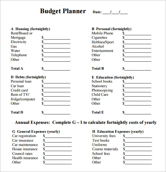 Fortnightly Budget Planner Template