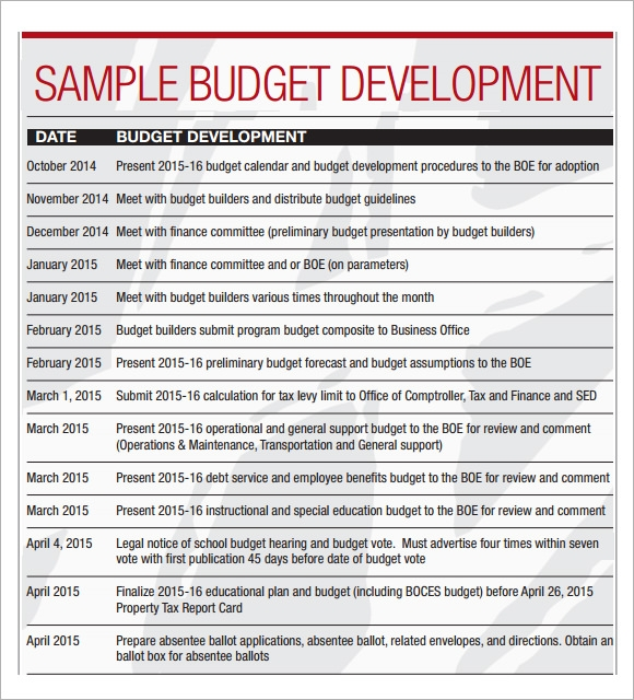 Sample Budget Calendar   Download For Pdf