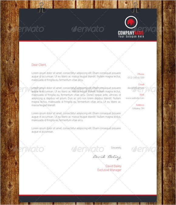 business letter on company letterhead