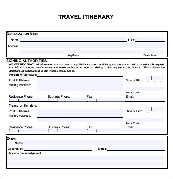 6 sample travel itinerary templates to download sample for Blank trip itinerary template