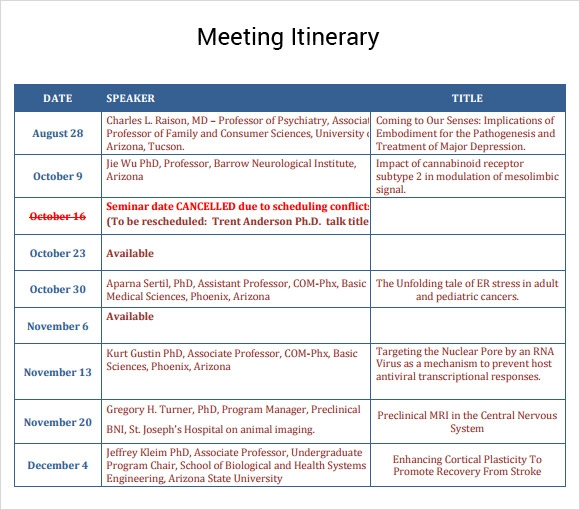 Meeting itinerary template forteforic meeting itinerary template flashek Image collections