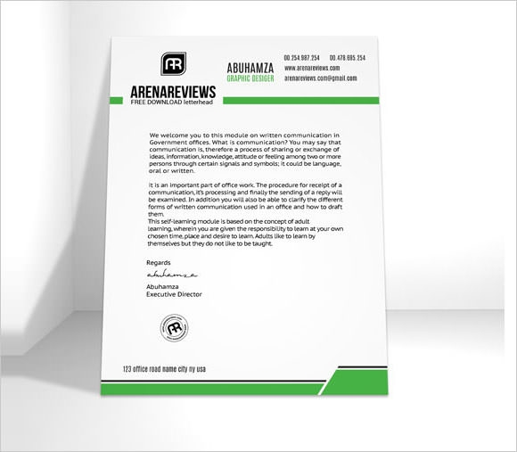 sample business letterhead templates