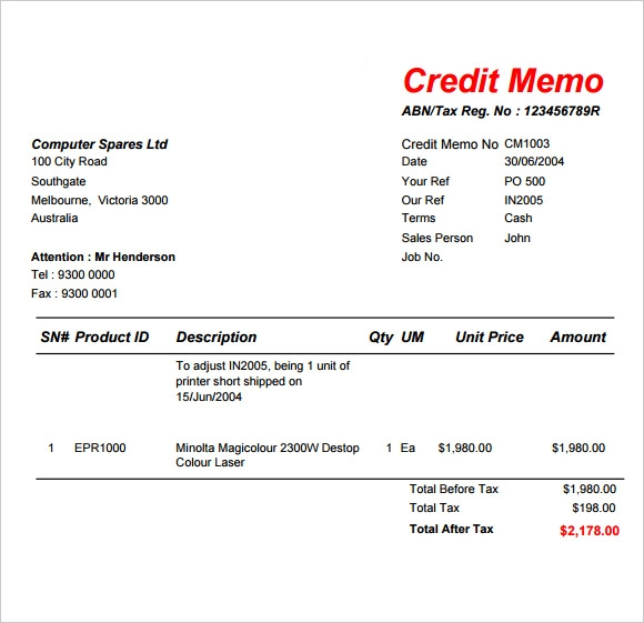 Sample credit note template sample credit memo templates to download altavistaventures Images