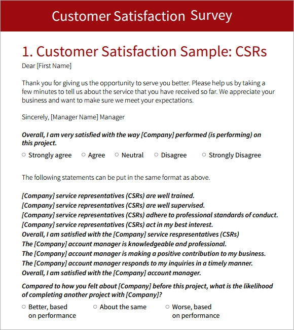 Customer Survey Template   Download Free Documents In Pdf