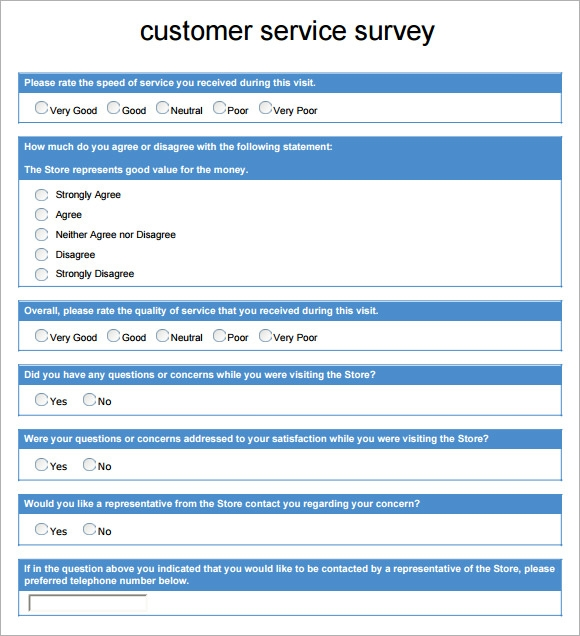 customer services survey example