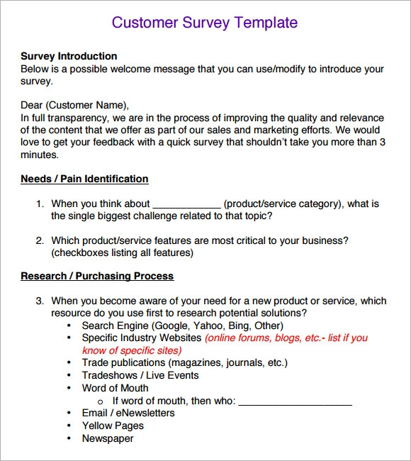 Customer Survey Sample  Customer Survey Template Word