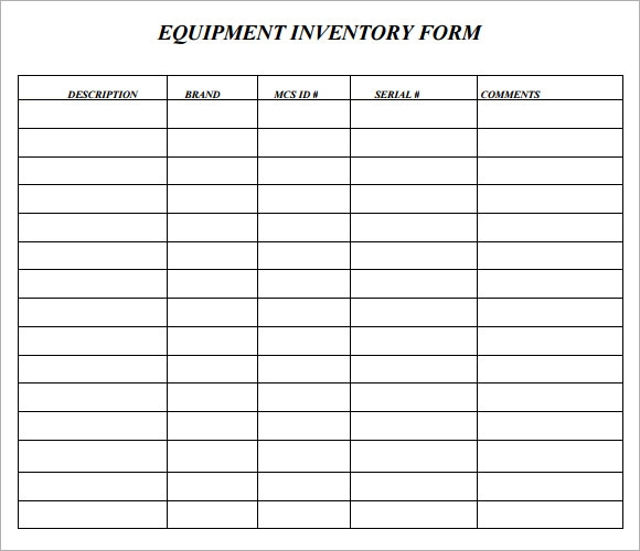 equipment inventory forms