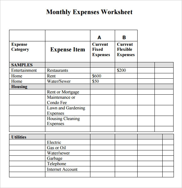 personal monthly expense report template .