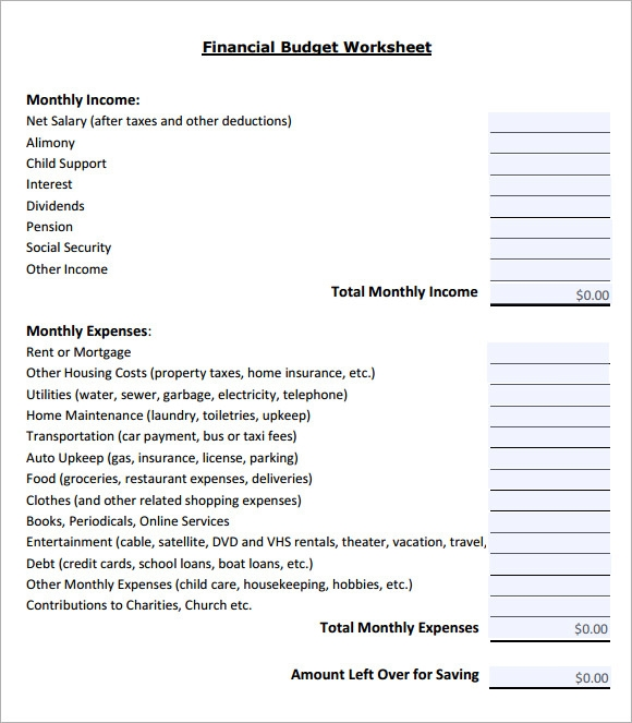 financial budget worksheet