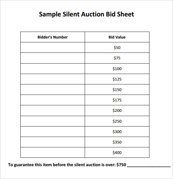 bid sheets for silent auction template