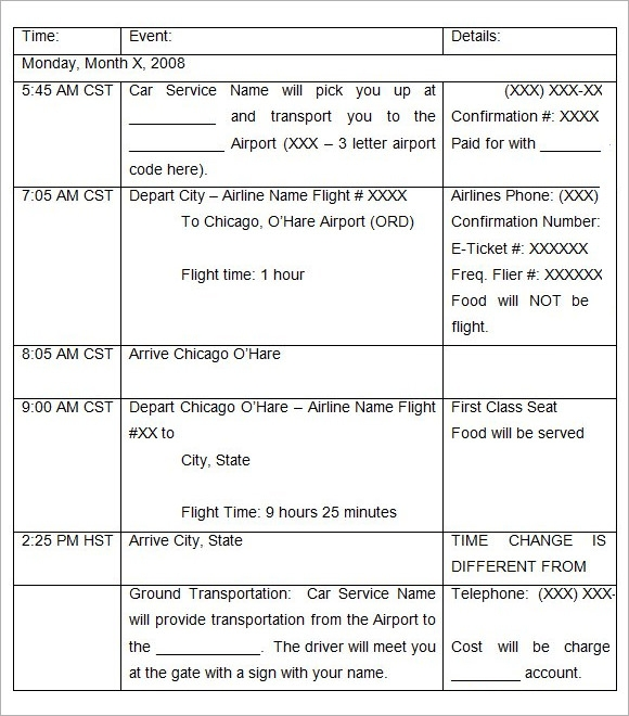 word itinerary template