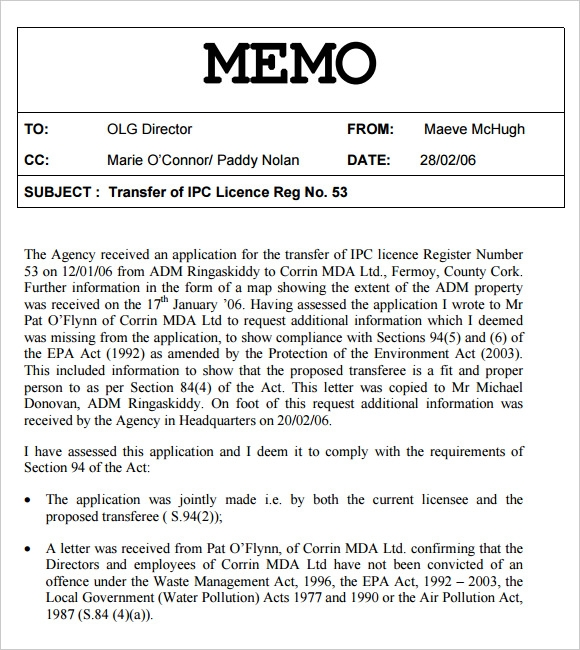 Internal Memo Template Sample Of Internal Memo