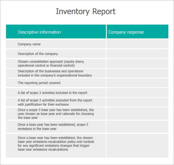 Sample Inventory Report Template   Free Documents Download In Pdf