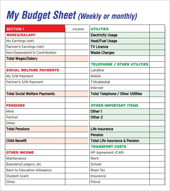 Sample Budget Sheet   Documents In Pdf Word