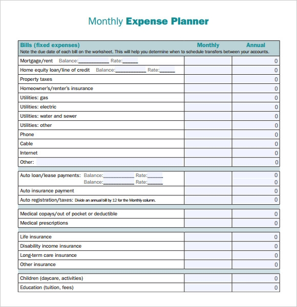 Monthly expense sheet download free printable budget for Monthly living expenses template