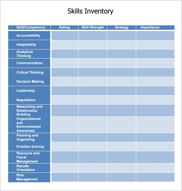 Sample Skills Inventory Template   Free Documents Download In