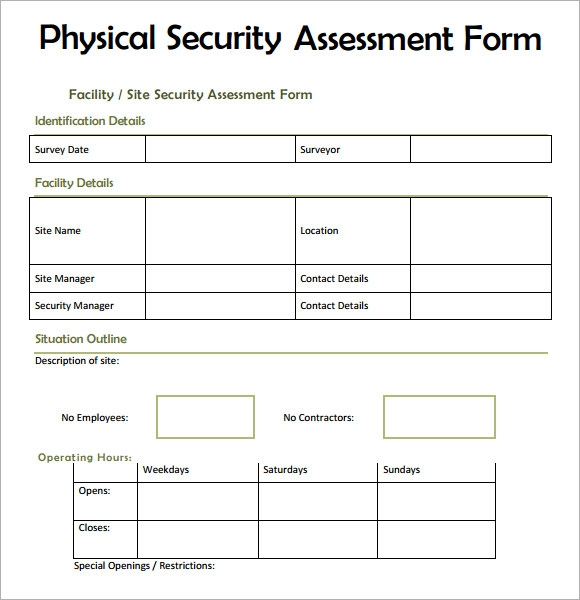 7 security assessment samples examples templates for Risk assessment security survey template