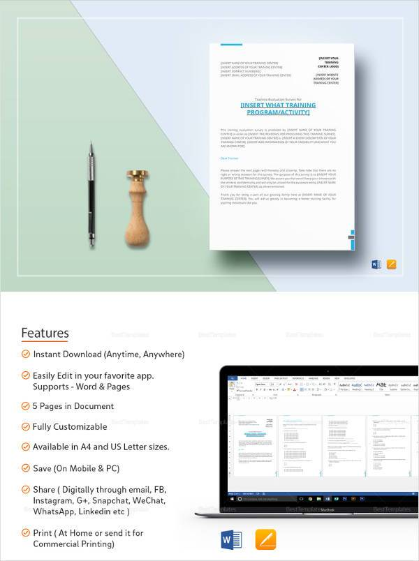 Printable Training Survey Template In MS Word  Printable Survey Template