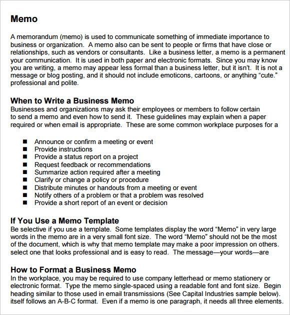 professional business memo template .