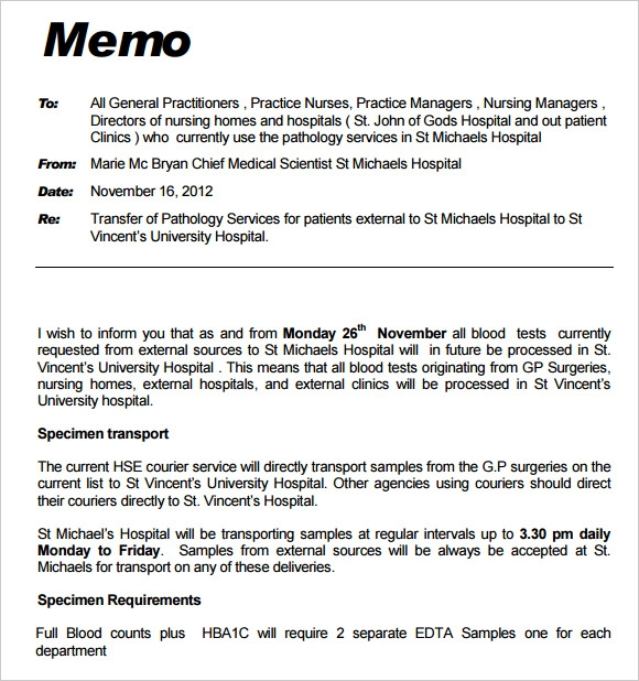 example of a memo letter – Free Memo Template Download