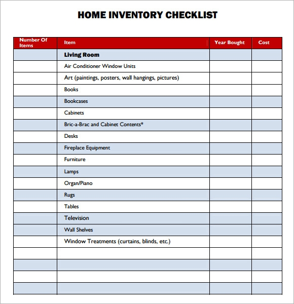 Sample Property Inventory Template 9 Free Documents Download in PDF – House Inventory List Template