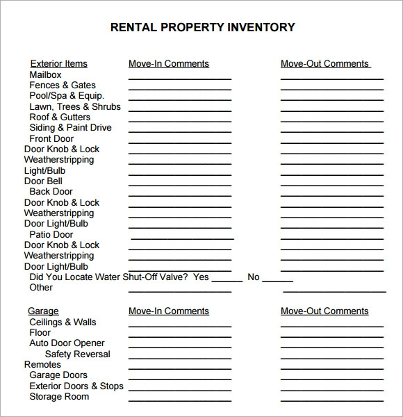10 property inventory templates sample templates for Inventory for rental property template