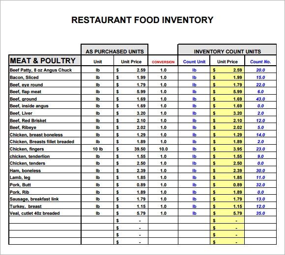 Sample Restaurant Inventory   Documents In
