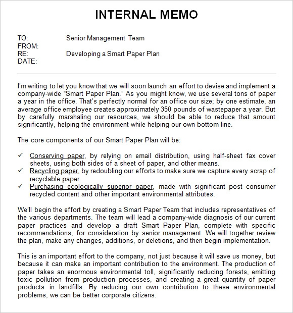 sample internal memo format