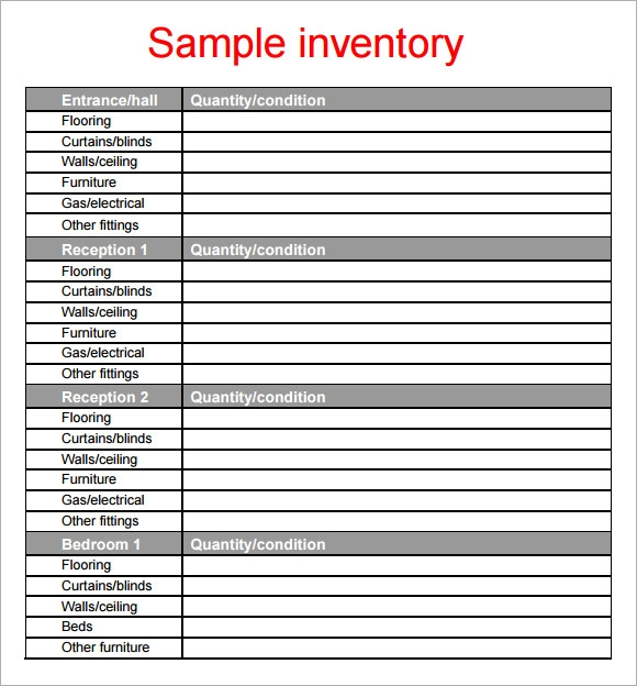 Sample Property Inventory Template 9 Free Documents Download in PDF – Sample Inventory List