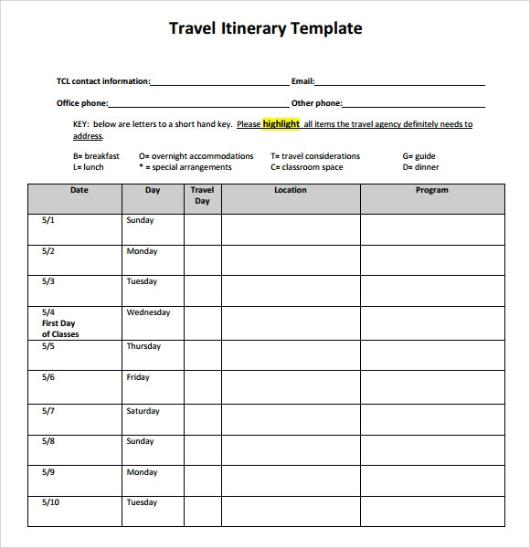 business travel itinerary template