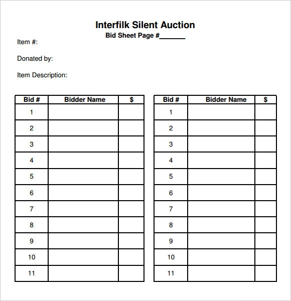 ... - Silent Auction Bid Sheets Http Www Business Templates Org Auction