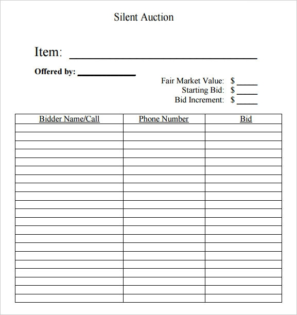 silent auction bid sheet free