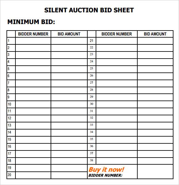 Silent Auction Bid Sheet Template U2013 8+ Download Free Documents In PDF  Bid Sheet Template Free