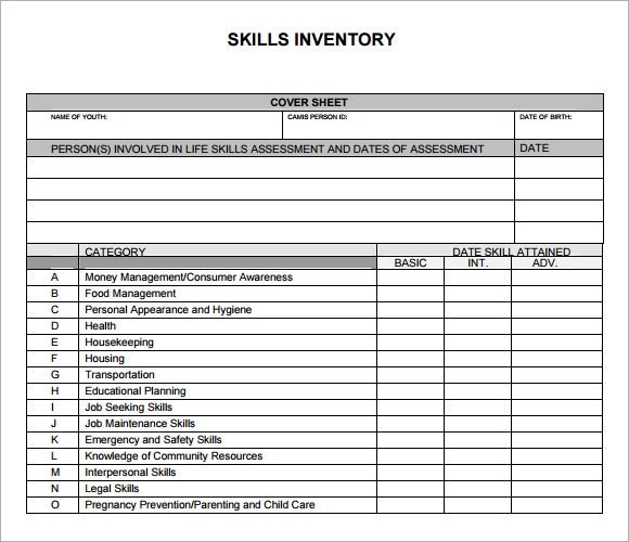 Printables Skills Inventory Worksheet sample skills inventory template 10 free documents download in pdf format