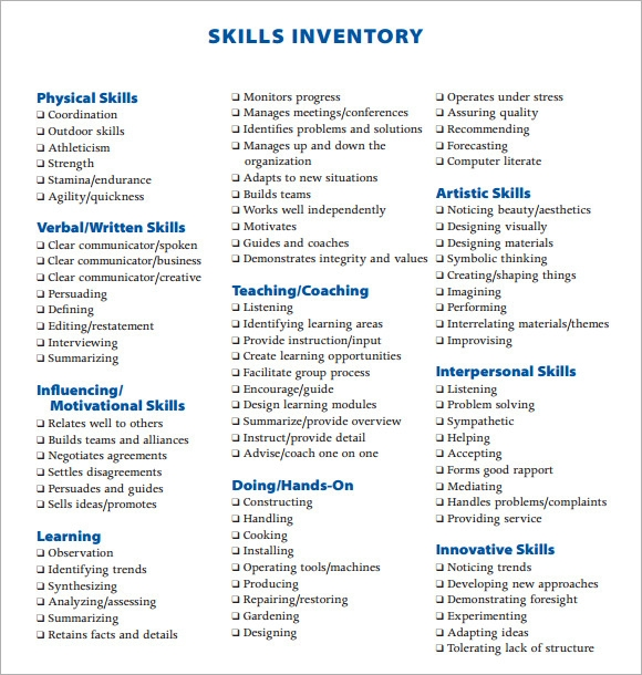 Worksheets Skills Inventory Worksheet sample skills inventory template 10 free documents download in pdf list