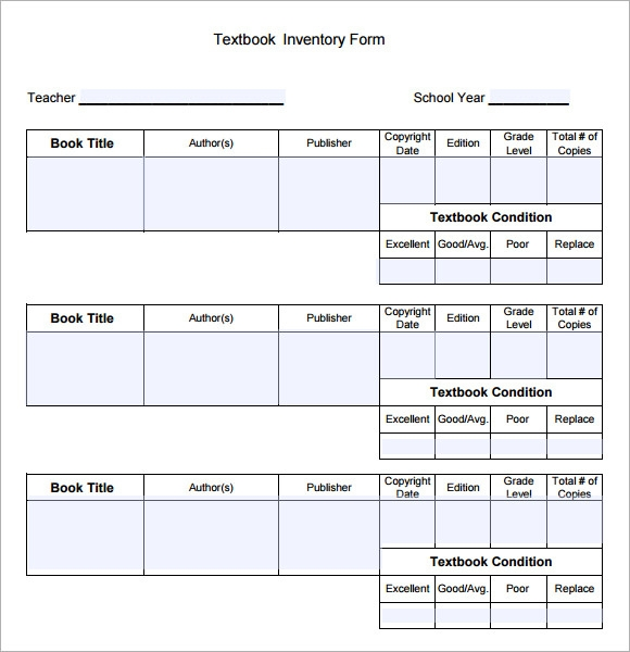 Delightful Textbook Inventory Template